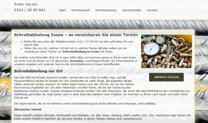 image 1 153 696x414 - Schrottabholung Essen : Interessant für unsere Verwertung sind Schrott, Metalle, und andere Wertstoffe.