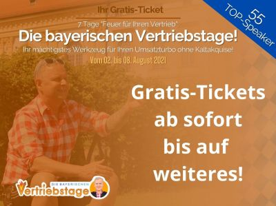 """die bayerischen vertriebstage mit gratis tickets - """"Die bayerischen Vertriebstage"""": Montag geht es los mit Gratis-Tickets im Wert von 97 Euro!"""